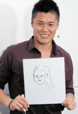川島永嗣奥さん似顔絵画像